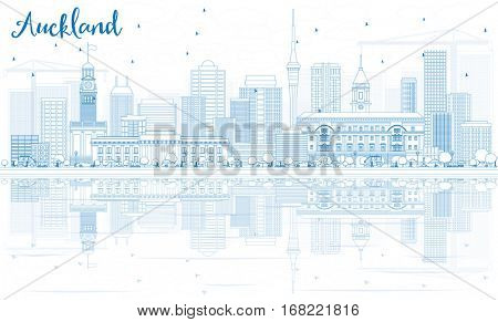 Outline Auckland Skyline with Blue Buildings and Reflections. Business Travel and Tourism Concept with Modern Buildings. Image for Presentation Banner Placard and Web Site.