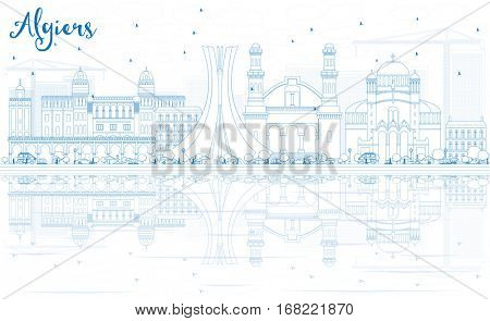 Outline Algiers Skyline with Blue Buildings and Reflections. Business Travel and Tourism Concept. Image for Presentation Banner Placard and Web Site.