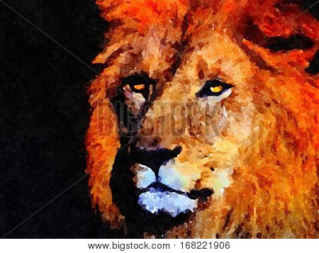 Beautiful powerful painting of a lion