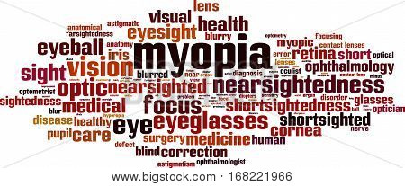 Myopia word cloud concept. Vector illustration on white