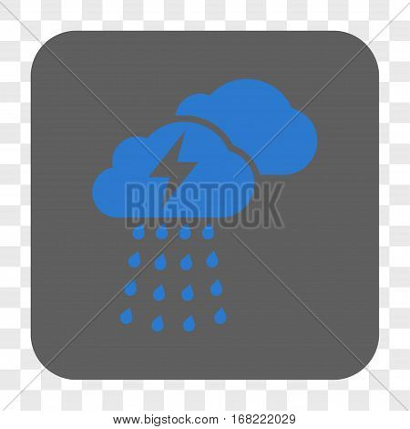 Thunderstorm Clouds interface toolbar button. Vector icon style is a flat symbol in a rounded square button blue and gray colors chess transparent background.