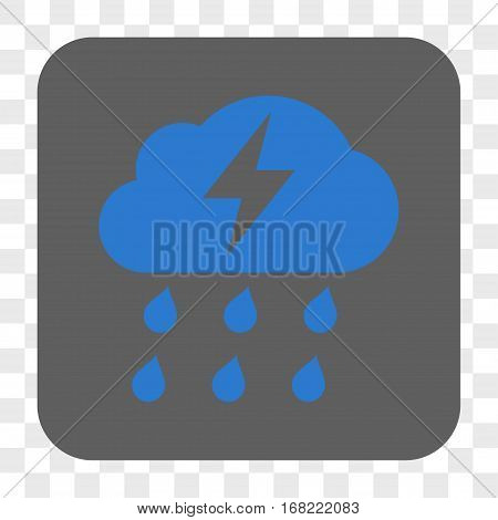 Thunderstorm interface toolbar button. Vector icon style is a flat symbol on a rounded square button blue and gray colors chess transparent background.