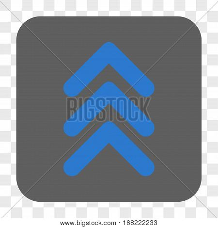 Triple Arrowhead Up interface toolbar button. Vector icon style is a flat symbol in a rounded square button blue and gray colors chess transparent background.