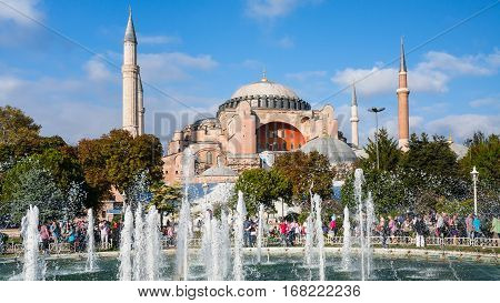 Basilica Hagia Sophia And Sultanahmet Square