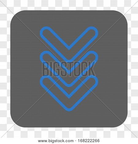 Triple Pointer Down interface toolbar button. Vector icon style is a flat symbol inside a rounded square button blue and gray colors chess transparent background.