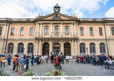 Facade Of Swedish Academy And Nobel Museum