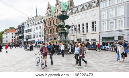 People Near Stork Fountain On Amagertorv Square