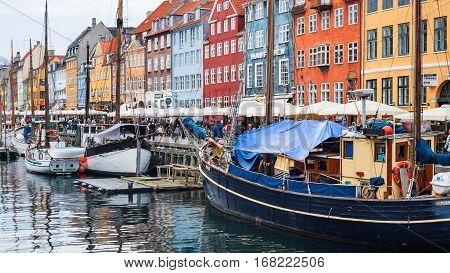 View Of Nyhavn Port In Copenhagen City In Autumn