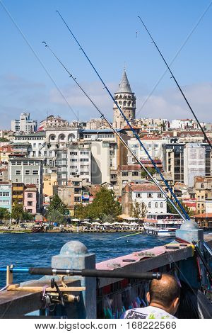 Galata Bridge And View Of Tower In Istanbul