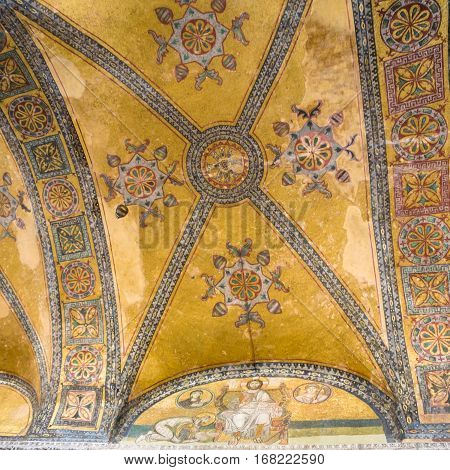 Decor Of Apse In Ancient Basilica Hagia Sophia