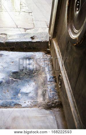 Marble Floor Worn Down By Feet In Basilica