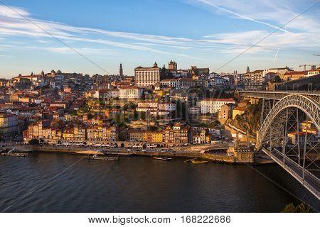 Douro river, Ribeira and Dom Luis I bridge, Porto, Portugal.