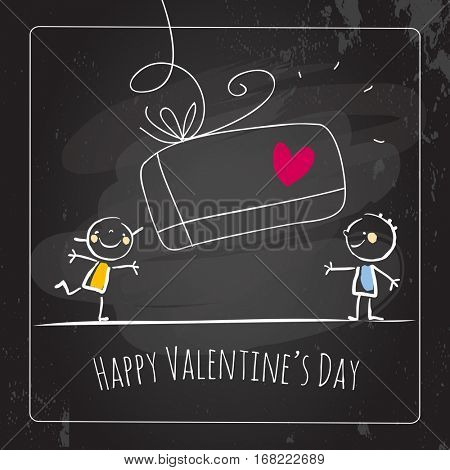 Valentine's day surprise greeting card, doodle style vector illustration, chalk on blackboard. Cute kids, couple with heart, love symbol.