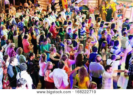People On Dancing Party During Cruise On Liner