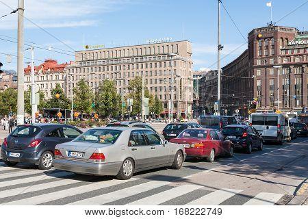 Traffic On Kaivokatu Steet In Helsinki City