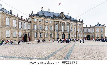 Tourists Near Royal Palace In Amalienborg