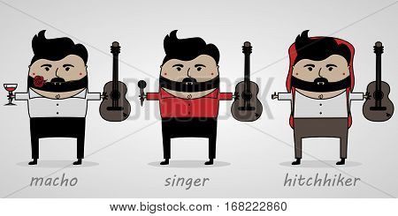 vector illustration cartoon man with beard with guitar macho singer tourist