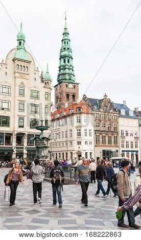 People On Amagertorv Square In Copenhagen City