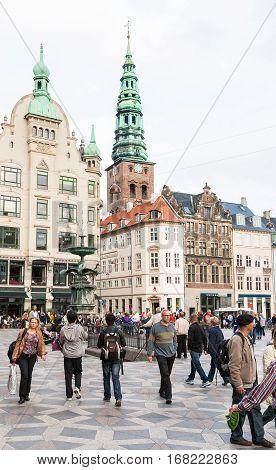 People On Amagertorv Square In Copenhagen City