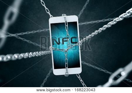 Chained Smartphone With Nfc Symbol. Conception Of Secure Connection