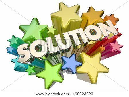 Solution Answer Problem Solved Stars Word 3d Illustration