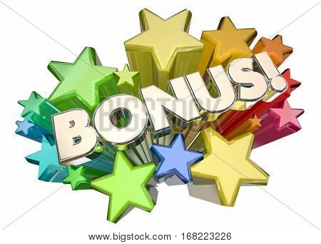 Bonus Added Value Extra Stars Word 3d Illustration