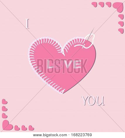 Vector illustration of romantic embroidered heart on the pink background