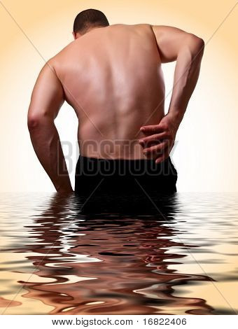 medical health image, young man with backache