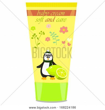 High quality original trendy vector Baby cream tube with kids design and pinguin, lime illustration