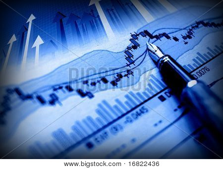 business image of pen indicate grow on financial diagram