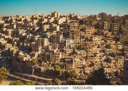 Photo of the Historic center of Amman, Jordan. Urban landscape. Residential area. Arabic architecture. Eastern city. Travel concept