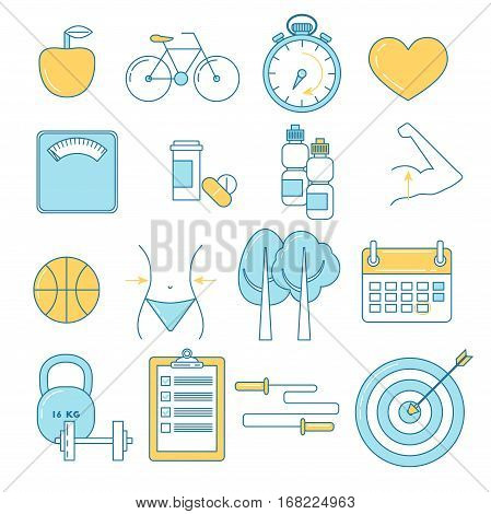 Fitness and sport line design icons. Weighting scale dieting healthy food and sports.