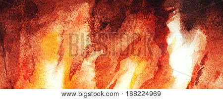 Watercolor fire flame fireplace abstract texture background.