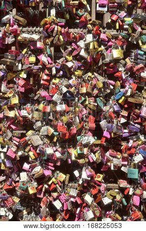 VERONA, ITALY - AUGUST 6, 2014: Lover locks in the house of Juliet in Verona Italy