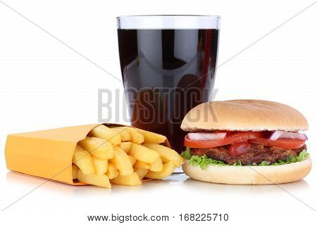 Hamburger And French Fries Menu Meal Combo Cola Drink Isolated