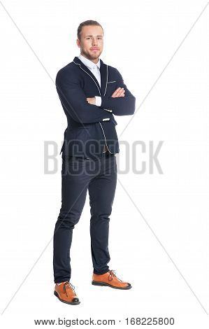 young handsome man posing in formal clothes