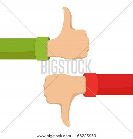 Two hands showing thumb up and thumb down signs. Positive and negative feedback, good and bad gestures, like and dislike. Flat style vector concept illustration isolated on white background.