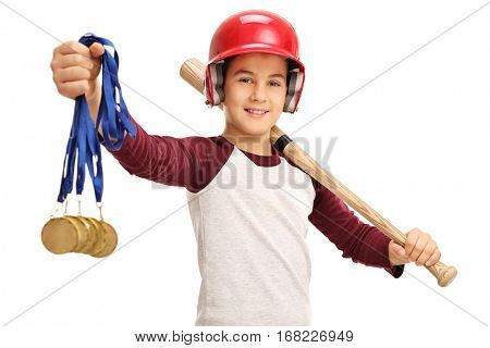 Cheerful boy holding gold medals and a baseball bat isolated on white background