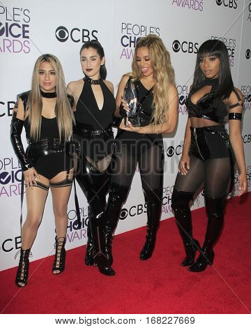 LOS ANGELES - JAN 18:  Fifth Harmony, Ally Brooke, Dinah Jane Hansen, Lauren Jauregui, Normani Hamilton at the People's Choice Awards 2017 at Microsoft Theater on January 18, 2017 in Los Angeles, CA