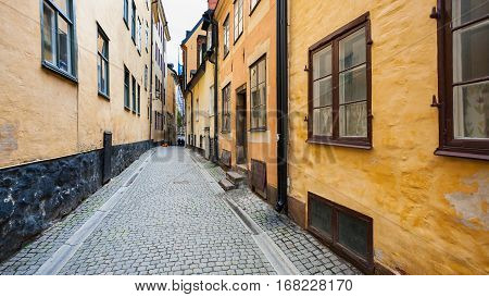 narrow street Prastgatan (Priest's street) in Old Town Galma Stan of Stockholm city