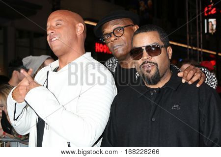 LOS ANGELES - JAN 19:  Vin Diesel, Samuel L Jackson, Ice Cube at the