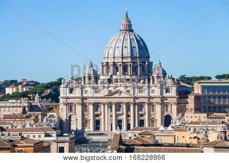travel to Italy - Papal Basilica of St Peter and square in Vatican city view from Castle of Holy Angel