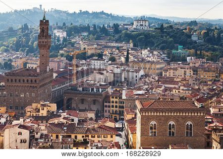 travel to Italy - above view of Florence city with Palazzo Vecchio from Campanile