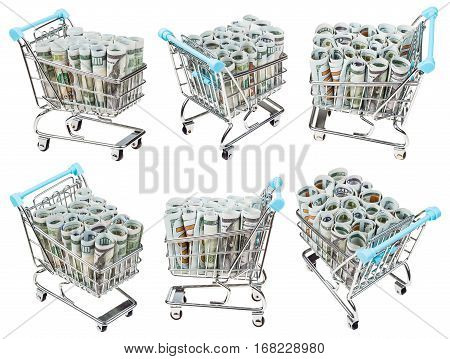 set from shopping carts with rolls from dollar banknotes isolated on white background