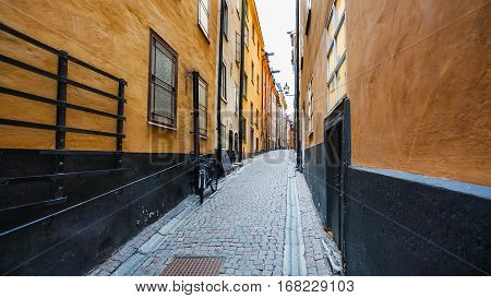 view of street Prastgatan (Priest's street) in Old Town Galma Stan in Stockholm city
