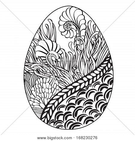 Hand drawn ornamental easter egg with floral doodle pattern for coloring book and Decorative design element for card souvenirs poster prints. Black and White ink drawing. Stock Vector