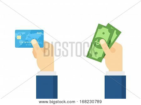 Hand holding debit credit card and Hand holding cash. Flat vector illustration. Payment concept.