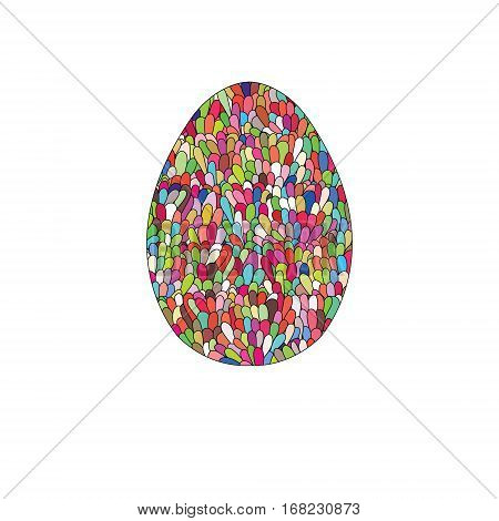 Hand drawn easter egg design with colorul doodle pattern like mosaic. Design elements for card poster souvenires. Cute Doodle style Easter Egg. Vector egg. Stock vector