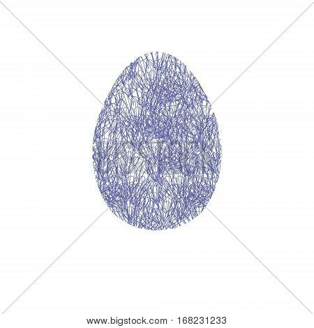Hand drawn easter egg with doodle pattern like netting in blue. Design element for card souvenires poster. Cute Doodle style Easter Egg. Vector egg. Stock vector