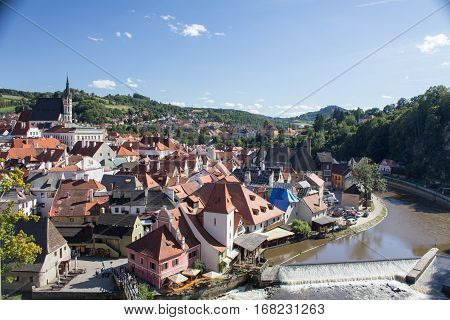 View over the city Cesky Krumlov in the Czech Republic.